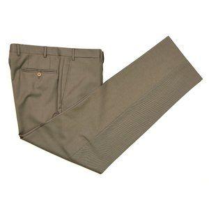 Canali Brown Label Twill Wool Dress Pants 35 X 32